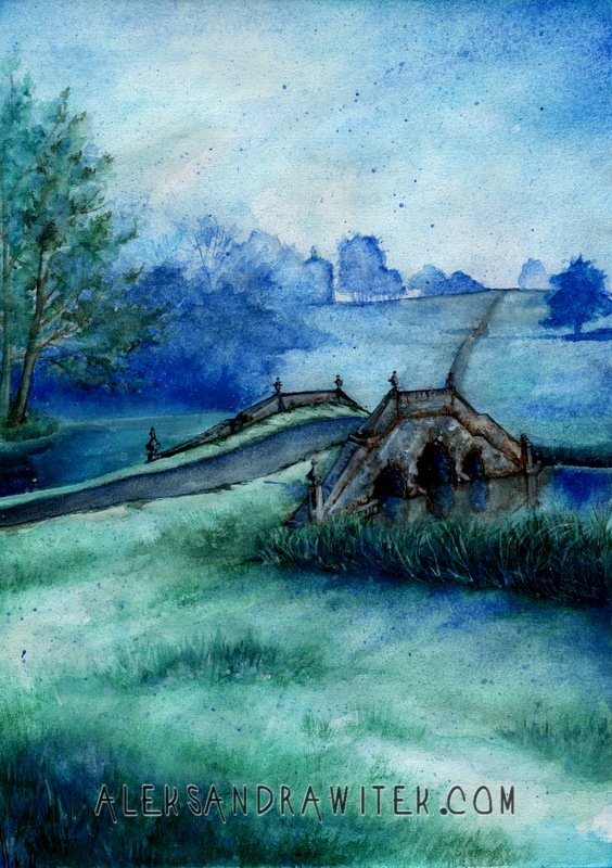 landscape in blue